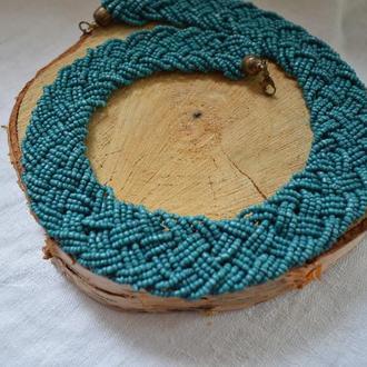 Ожерелье плетеное из бисера ′′Этно′