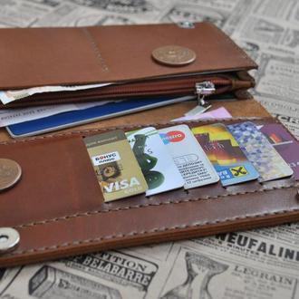 Большой кожаный кошелек для всего K41-коричневый