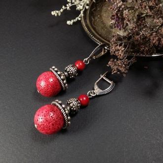 Рожеві коралові сережки