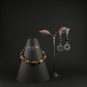 Комплект украшений из агата и серебра 925 пр.