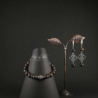 Комплект украшений из бронзита и серебра 925 пр.