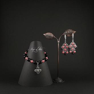 Комплект украшений из агата ,коралла и серебра 925.