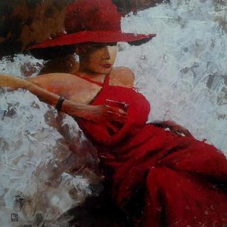 """Картина """"Девушка с бокалом вина"""" 60х60 см"""