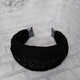 Вязаный чёрный ободок, головной убор