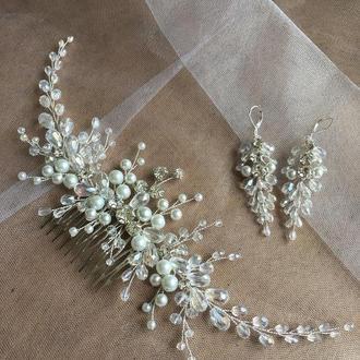 Набор украшений для невесты: гребень и серьги, набор украшений для невесты: гребень и серьги