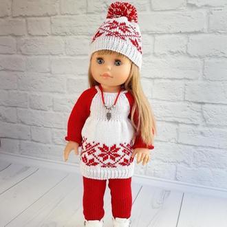 Одяг на ляльок Паола Рейну 40 см зимовий комплект біло-червоний