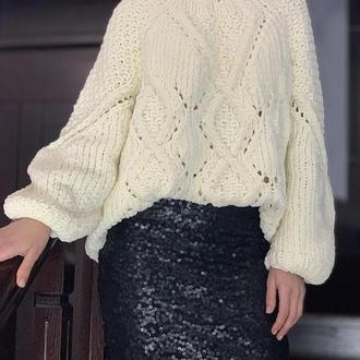 Плюшевый свитер крупной вязки, оверсайз