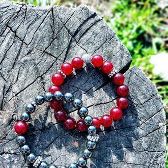 Набор браслетов из натуральных камней (гематит, кварц)