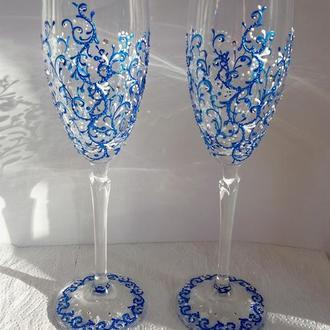 Свадебные бокалы, синяя роспись со стразами
