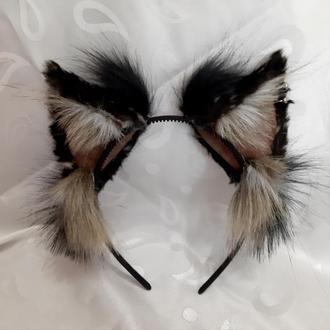Черно-серые пушистые ушки на обруче. Аниме