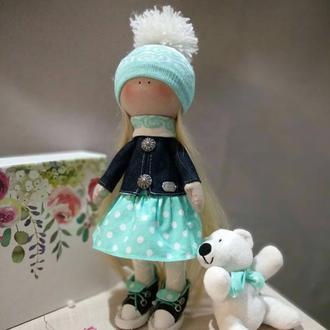 Интерьерная текстильная кукла-тыквоголовка