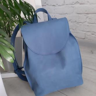 Рюкзак из натуральной кожи Crazy Horse. Цвет голубой