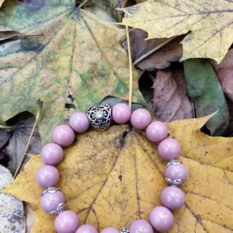 Браслет из чешского стекла, браслет на подарок, женский браслет, розовый браслет