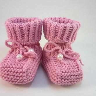 Пинетки вязаные для новорожденных Пинетки для девочки
