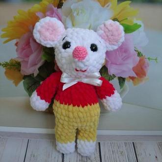 🍓 Мышонок вязаный. Детская плюшевая игрушка мышка. Маленькая мышь крючком. Мышка амигуруми.