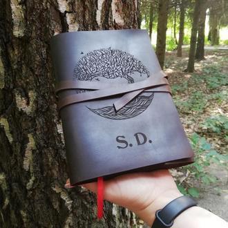 Обложка кожаная для блокнота или ежедневника с любой гравировкой