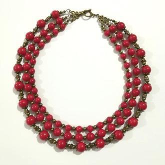 Колье трехрядное из Коралла, натуральный камень, цвет красный и его оттенки \ Sk - 0022
