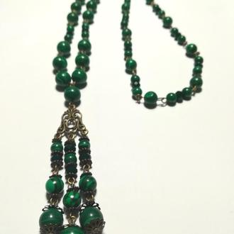 Колье с подвеской из Малахита прес., натуральный камень, цвет зеленый и его оттенки \ Sk - 0035