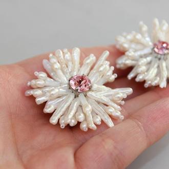 Клипсы серьги цветы из жемчуга