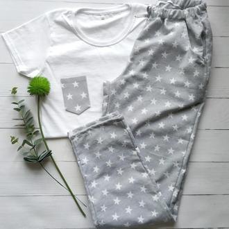 Женская пижама из фланели в звёздочки