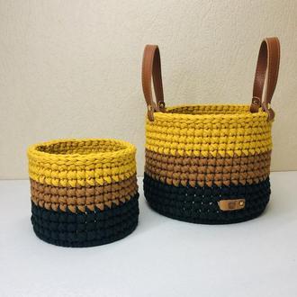 Вязаные корзинки для хранения