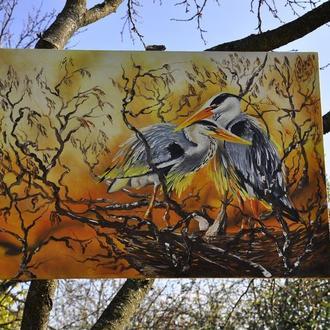 """АРТ.Картина маслом - """"Восточные птицы"""" 55*36см. Современная живопись"""