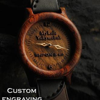 Индивидуальная гравировка .Деревянные наручные часы,  кожаный ремешок. Наручний годинник Бубинго
