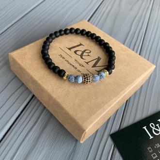 Браслет I&M Craft из шунгита с голубым змеевиком (141057)
