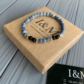 Браслет I&M Craft из камня голубого змеевика с шунгитом (141058)