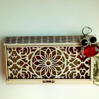 Шкатулка-конверт для денег из дерева Мандала, деревянный конверт для денег, для свадьбы