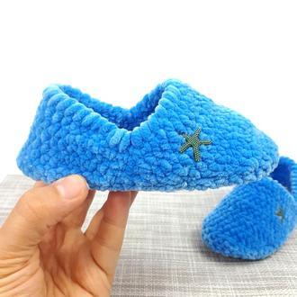 Детские голубые плюшевые тапочки на войлочной основе со стопиками