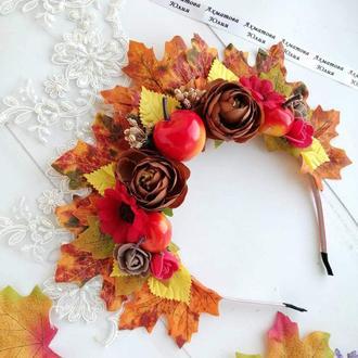 Корона из листьев Королева осень яблоки и цветы