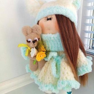 """Кукла интерьерная """"Сбежавшая невеста"""" с зайкой"""