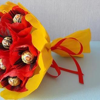 "Букет ""Маки"" из конфет КреАмо"