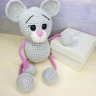 мышка, погремушка, вязаная игрушка