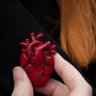 Брошь анатомическое сердце, брошь реалистичное сердце, подарок на  День Святого Валентина
