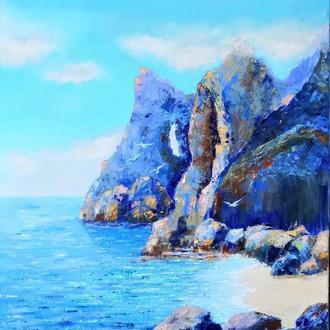 Морской пейзаж, бухта, море, горный пейзаж, скалы
