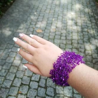 Браслет фиолетовый Воздушный браслет Широкий красивый браслет Фиолетовый браслет на подарок