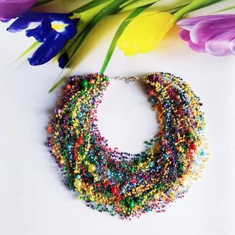 Радужное колье из бисера Серьги из бисера разноцветные  Лучший подарок