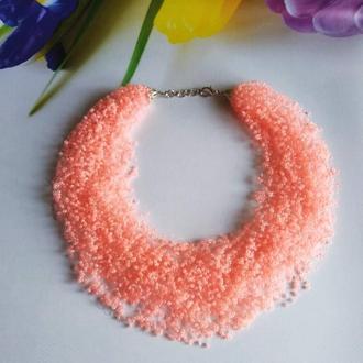 Персиковое воздушное колье Яркое и необычное Оранжевое ожерелье Подарок женщине на юбилей