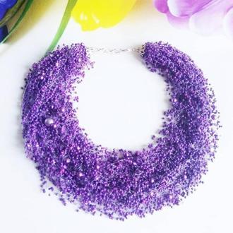 Воздушное колье фиолетовое Длинное фиолетовое ожерелье из бисера купить украина На подарок