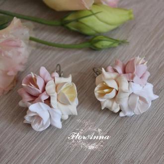 """Серьги с цветами """"Персиковая ваниль"""""""