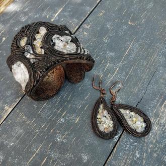 Комплект украшений из браслета и серёг