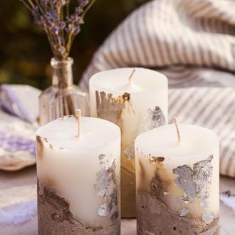 Натуральна свічка з бетоном, свечи
