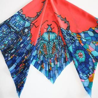 Шелковый платок с жуками, женский платок ручной росписи, подарок на день рождения