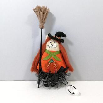 Рыжая кошечка ведьма Тыковка Декор хеллоуин Карманный котенок волшебница Авторская игрушка кот тыква