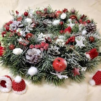 Новорічний різдвяний вінок декор свічник