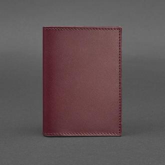 Женская кожаная обложка для паспорта 1.2 бордовая Краст