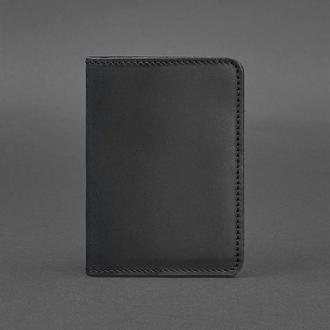 Кожаная обложка для паспорта 1.3 черная Crazy Horse