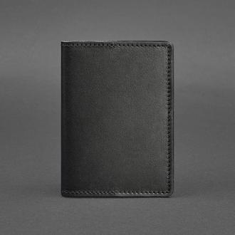 Кожаная обложка для паспорта 1.3 черная Краст
